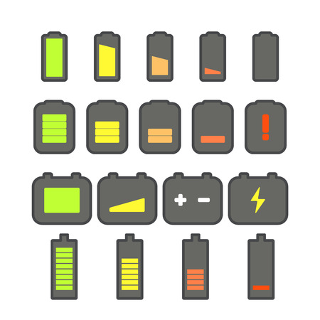 accumulator: Different accumulator status icons. Minimalism illustration concept Illustration
