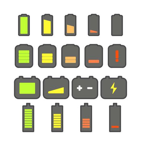 accu: Different accumulator status icons. Minimalism illustration concept Illustration