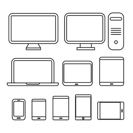 Recogida de diferentes dispositivos de medios. Lineart siluetas de diseño Ilustración de vector