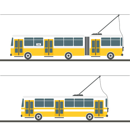 trolleybus: Vector city trolleybus collection isolated on white Illustration
