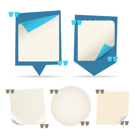 messages: Collection of different paper messages. Blank quoting template Illustration