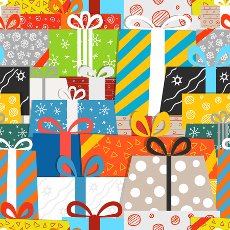 gift pattern: Different gift boxes seamless vector pattern