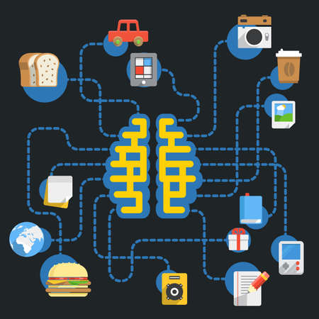 food industry: Abstract scheme with brain and different icons Illustration