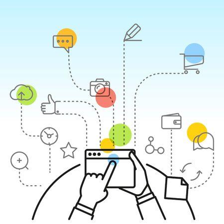 via: Digital marketing concept via modern digital gadget. Simple line design illustration Illustration