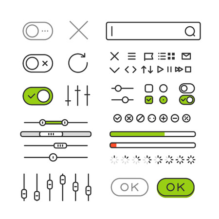 selector: Different style trendy interface vector elements and pictograms collection isolated on  white