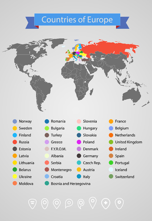 World map infographic template countries of europe royalty free vector world map infographic template countries of europe gumiabroncs Image collections