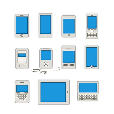 lineart: Abstract style modern and vintage mobile gadgets. Lineart collection