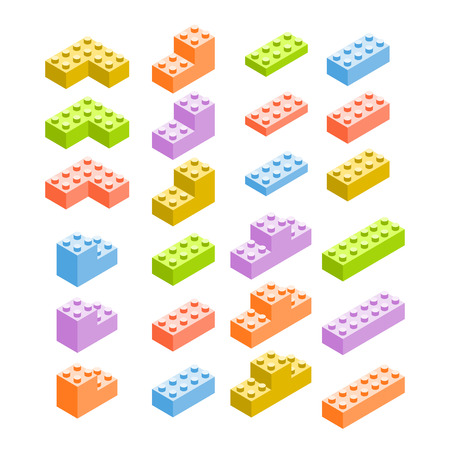 constructor: Different color constructor blocks isolated on white Illustration