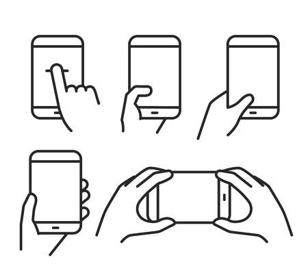 segurar: Diferentes variações segurando um smartphone moderno. Lineart pictogramas coleção