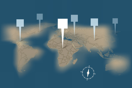 destination: Earth map with destination points template Illustration