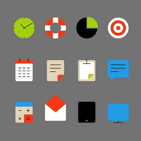 lineart: Different color thin web icons set. Lineart design elements collection