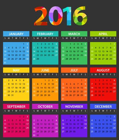 color of year: 2016 year color calendar template. Flat design template Illustration