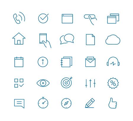 最新の web およびモバイル アプリケーション絵文字コレクション。ラインアート intercece アイコン セット 写真素材 - 53606093