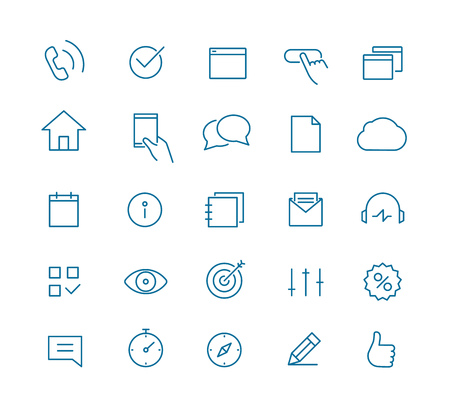 Modern web and mobile application pictograms collection. Lineart intercece icons set
