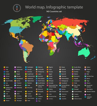 Mapa świata infografika szablonu. Wszystkie kraje są wybierane