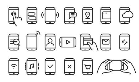 phone hand: Different variations of holding a modern smartphone. Lineart pictograms collection