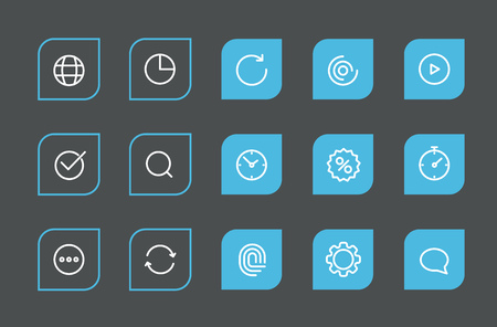 application icons: Modern web and mobile application pictograms collection. Lineart intercece icons se