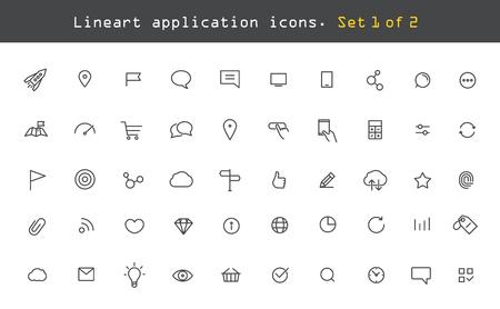 最新の web およびモバイル アプリケーション絵文字コレクション。ラインアート intercece アイコン セット  イラスト・ベクター素材