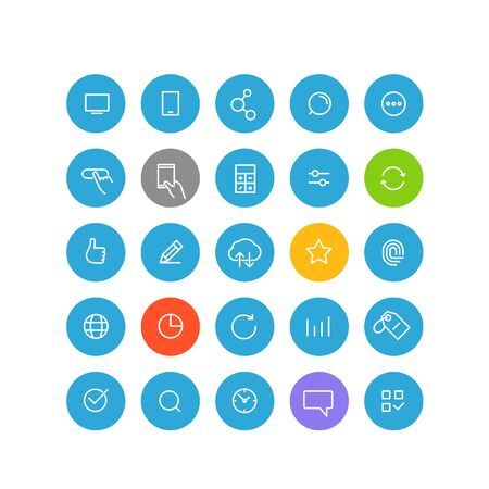 application recycle: Modern web and mobile application pictograms collection. Lineart intercece icons set