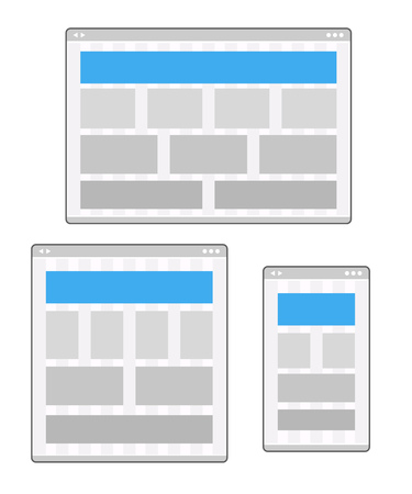 platforms: Adaptive design layouts. Web site page templates collection on different platforms