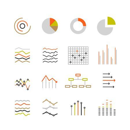 異なるグラフィック評価とグラフ。線画デザイン カラー コレクション