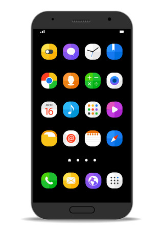 mobile: Modern smartphone template with different color icons. Vector flat design elements