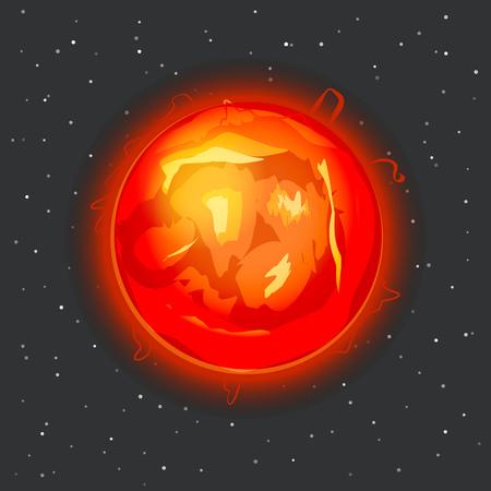 protuberance: Sun in space vector illustration