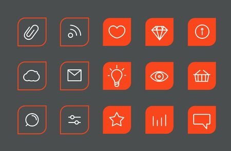 lineart: Modern web and mobile application pictograms collection. Lineart intercece icons set