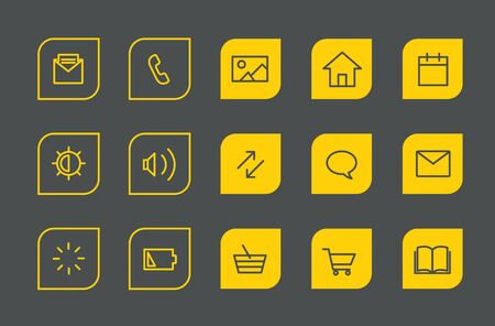 application icons: Modern web and mobile application pictograms collection. Lineart intercece icons set