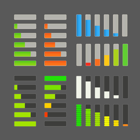 Charge bar vector collection. Application design elements