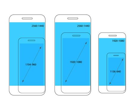 resolutions: Different modern smartphone resolutions comparison. Design elements Illustration