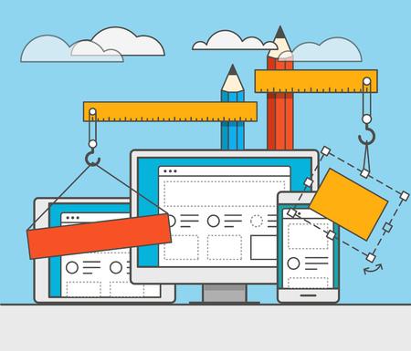 web site design: Web site constructor vector illustration. Web design concept