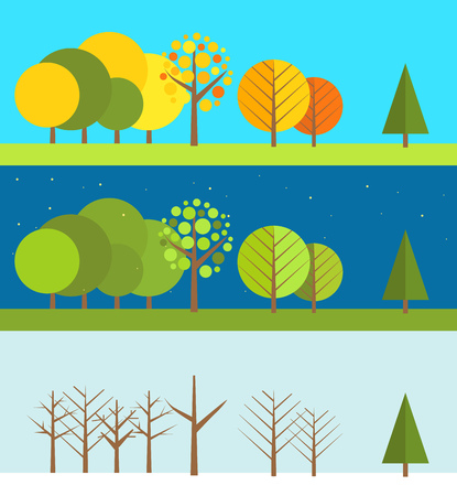 spring summer: Different wheather flat design illustrations set Illustration