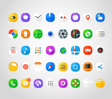 application icons: Different modern smartphone application icons set. Vector flat design elements Illustration