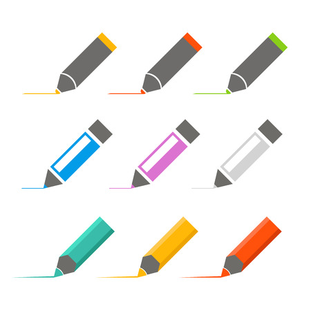 markers: Color crayons and markers icons vector set Illustration