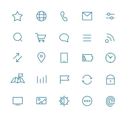 web moderno y la recogida de los pictogramas de aplicaciones móviles. intercece iconos lineart establecen