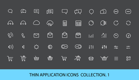 Modern web and mobile application pictograms collection. Lineart interface icons set Çizim