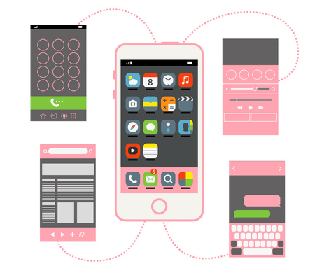 interface elements: Modern smartphone with different interface elements
