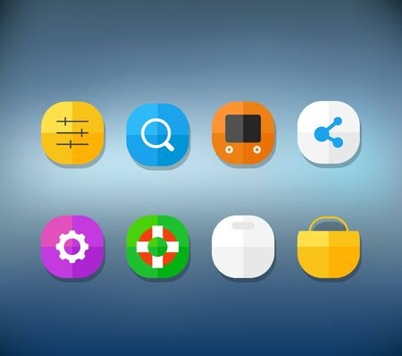 advertising material: Different modern smartphone application icons set on blur background. Vector flat  design elements