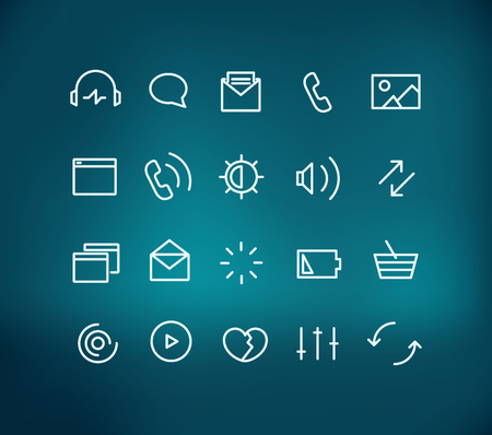 application icons: Modern web and mobile application pictograms collection on blur background. Lineart  intercece icons set