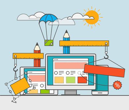 web site: Web site constructor vector illustration. Web design concept