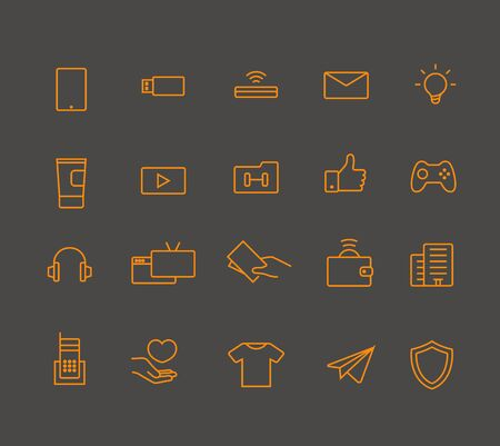 picto: Modern web and mobile application pictograms collection. Lineart interface icons set Illustration
