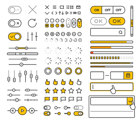 applications: Different style trendy interface vector elements and pictograms collection isolated on white Illustration