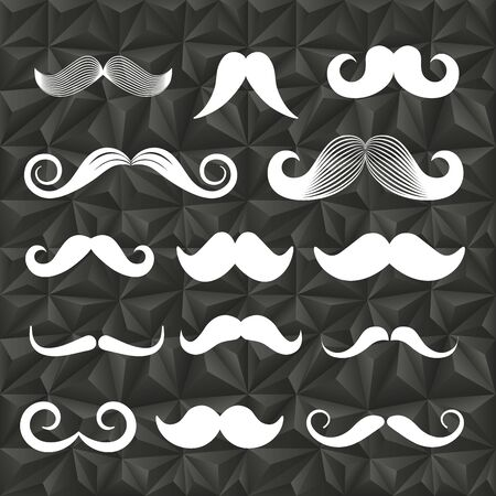 moustaches: Different retro style moustaches on abstract pattern Illustration