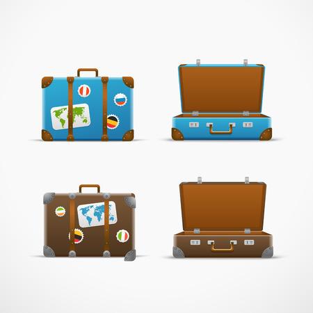 map case: Travel bag vector set. Vacation design template