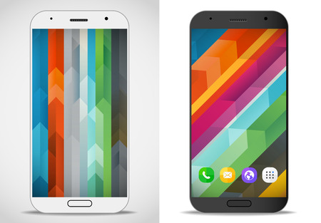 photoreal: Modern smartphones with abstract mockup. Vector layout