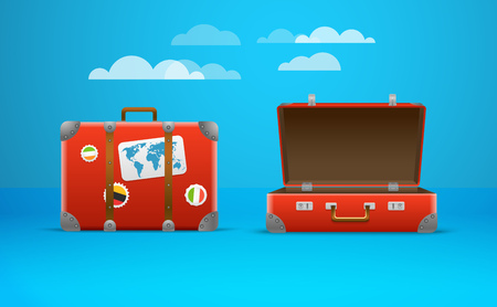 旅行バッグのベクター イラストです。休暇のデザイン テンプレート