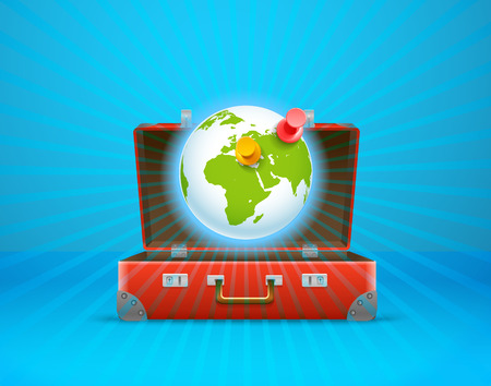 map case: Travel bag vector illustration. Vacation concept