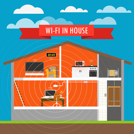 home network: Internet connection in house infographics. Vector scheme Illustration