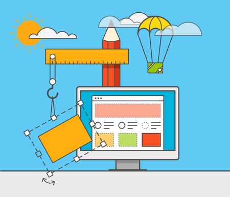 sito Web illustrazione costruttore vettoriale. concetto di Web design Vettoriali